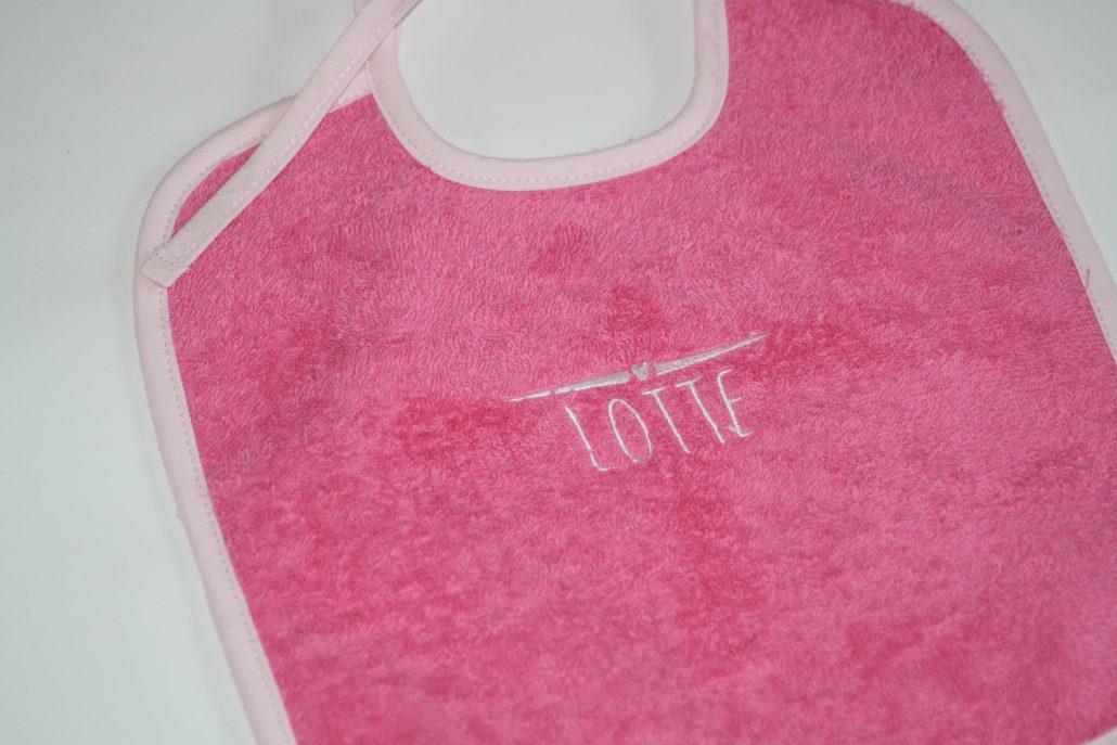 Badstof slabber, pink met licht roze