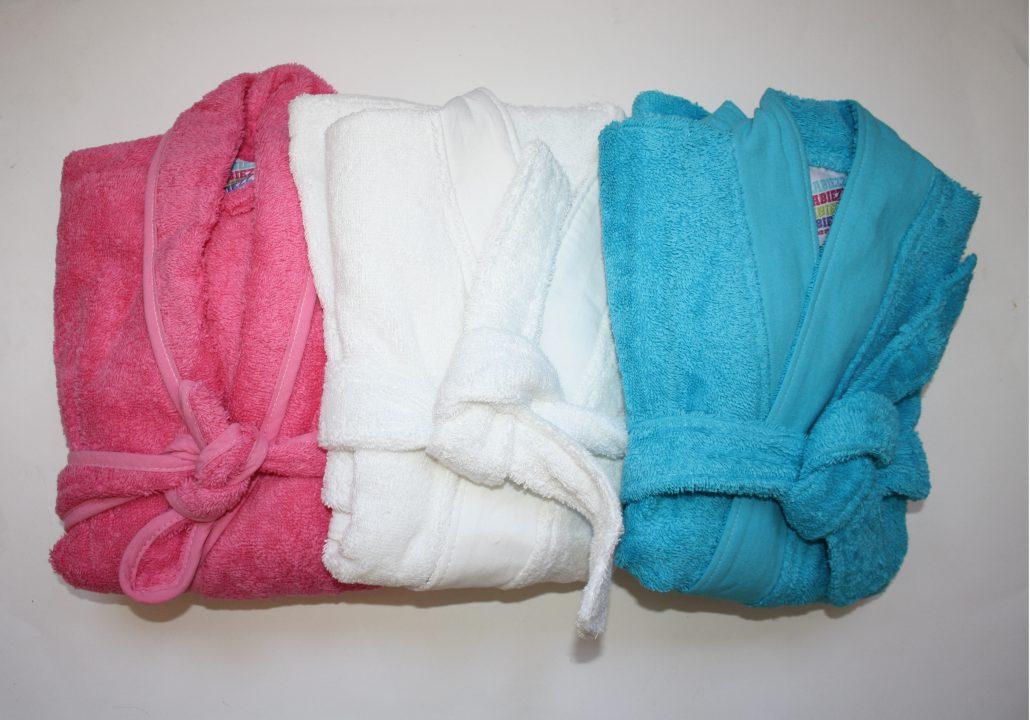 badjas, pink, aqua, wit